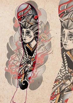 Эскиз татуировки, япония рукав для парня
