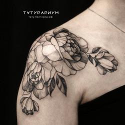 Фото татуировки, нежные пионы на плече у
