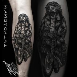 Фото татуировки, традик иисус на мотоцик