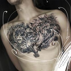 Фото татуировки в стиле анимэ, япония, т