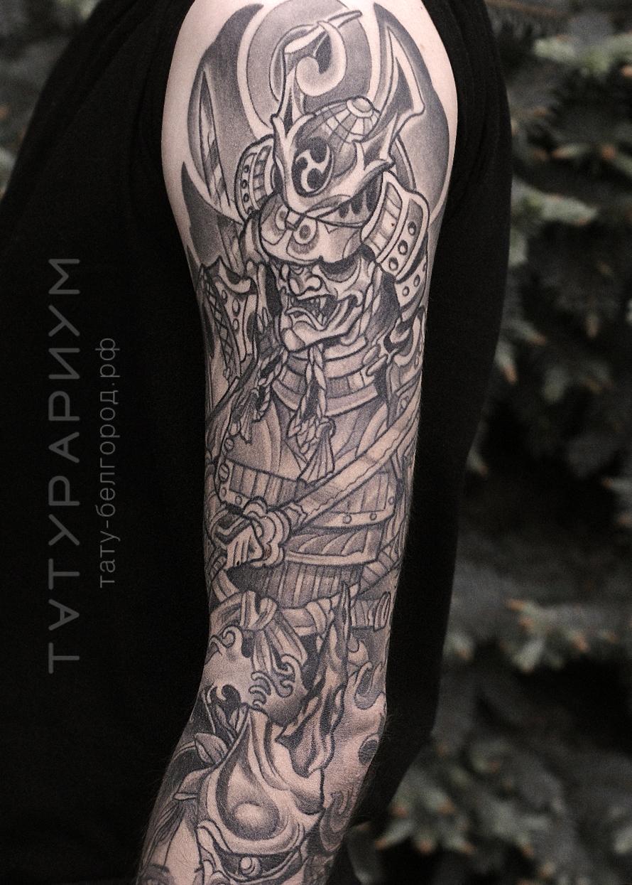 Фото татуировки, рукав в японском стиле, мужской японский рукав, тату-салон Татурариум, тату-белгоро