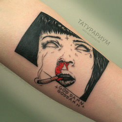 фото татуировки, ума турман, на предплечье у парня, в графике, тату-салон татурариум, тату
