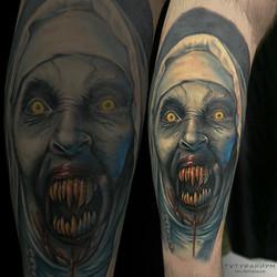 Фото татуировки, хорор, зомби, цветной р