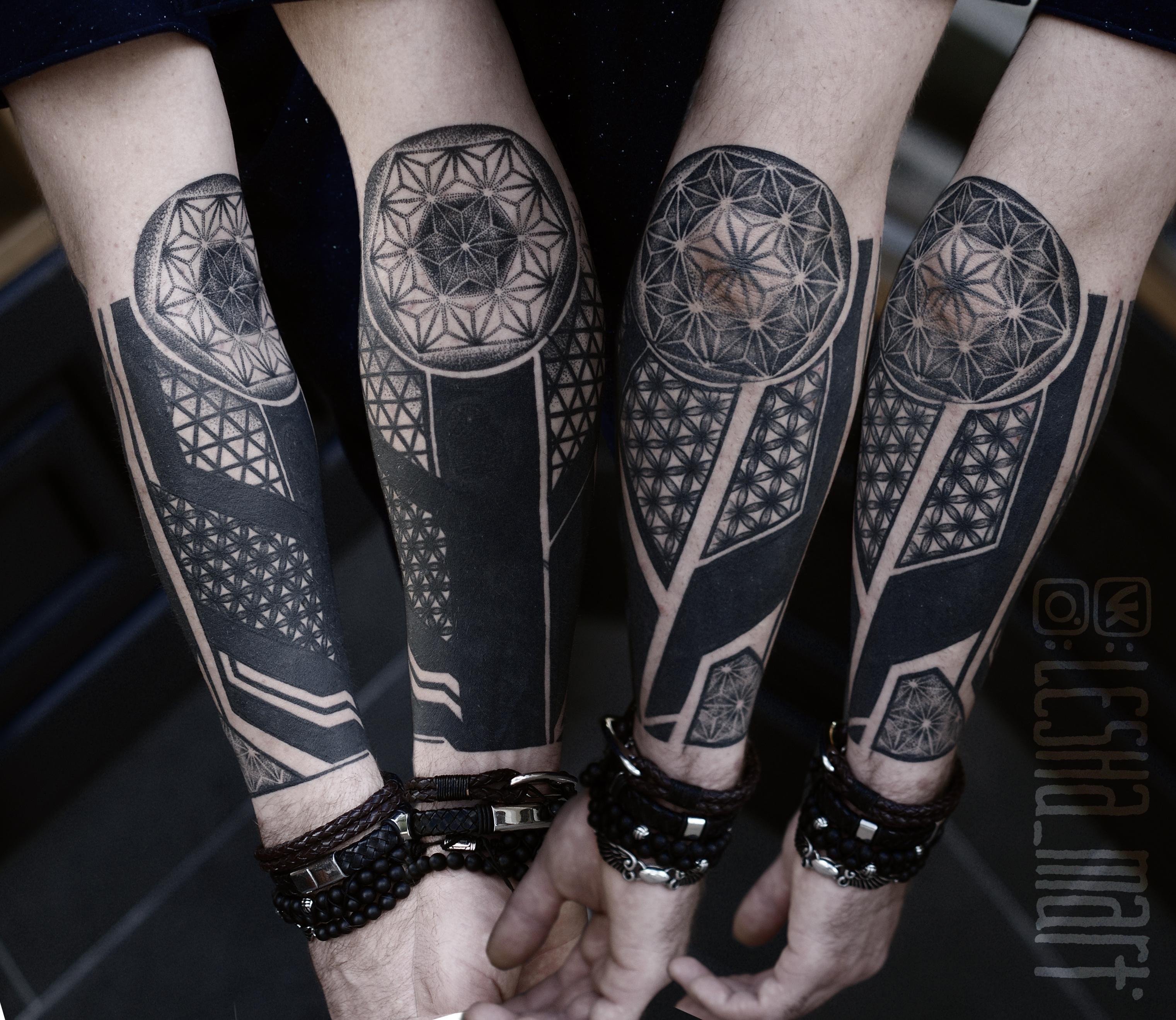 Фото татуировки, перекрытие геметрия и м