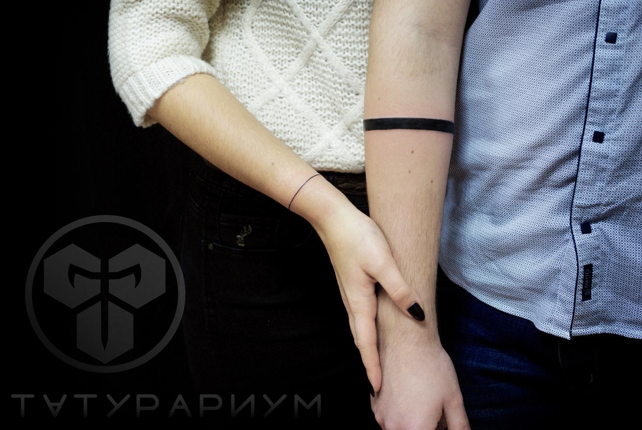 Фото татуировки, для пары черный браслет