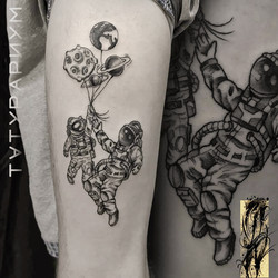 Фото татуировки, космонафт с воздушными