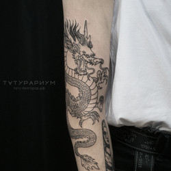 фото татуировки, контурный японский драк