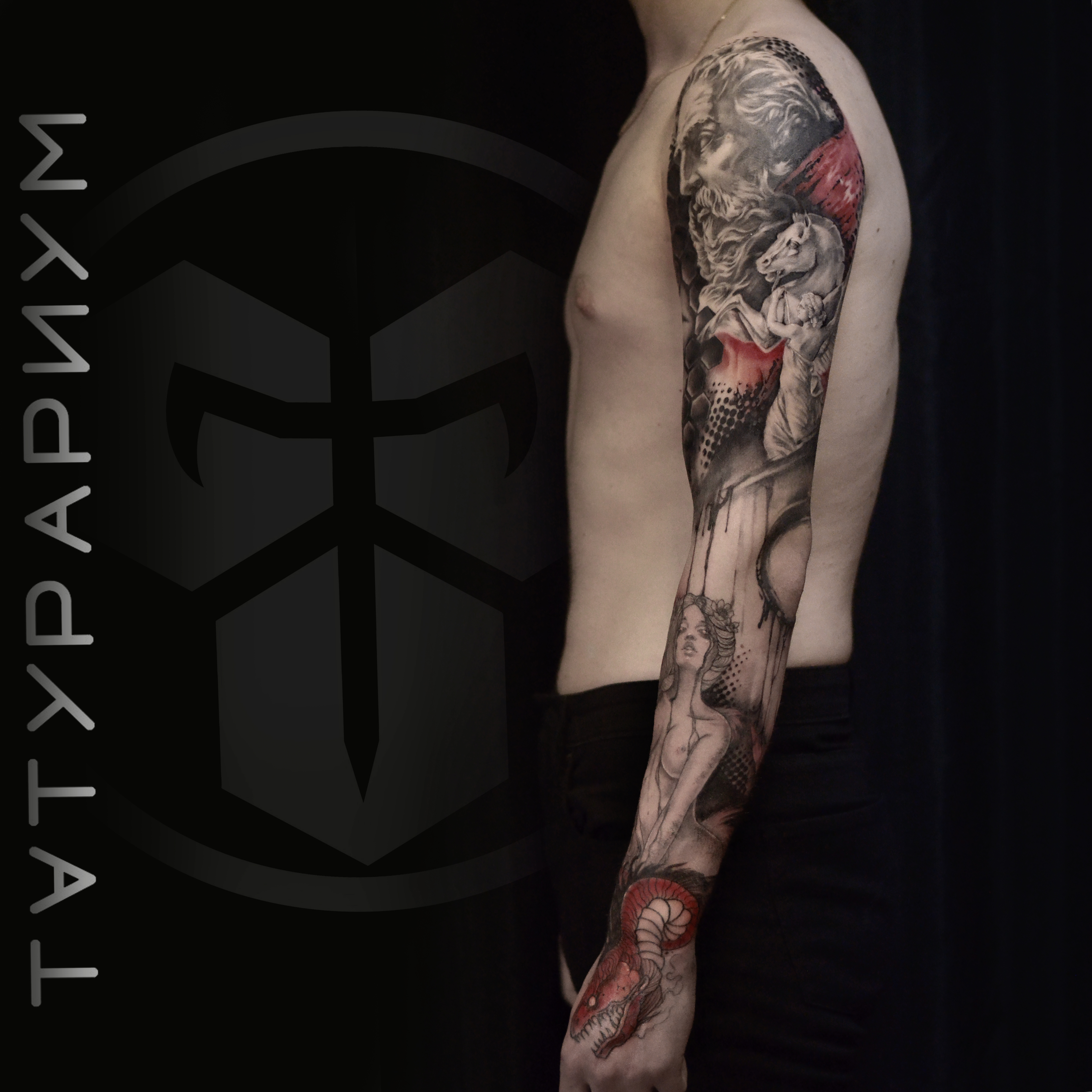 Фото татуировки, рукав в стиле трешпольк