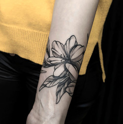 Фото татуировки, черно белый цветок на п