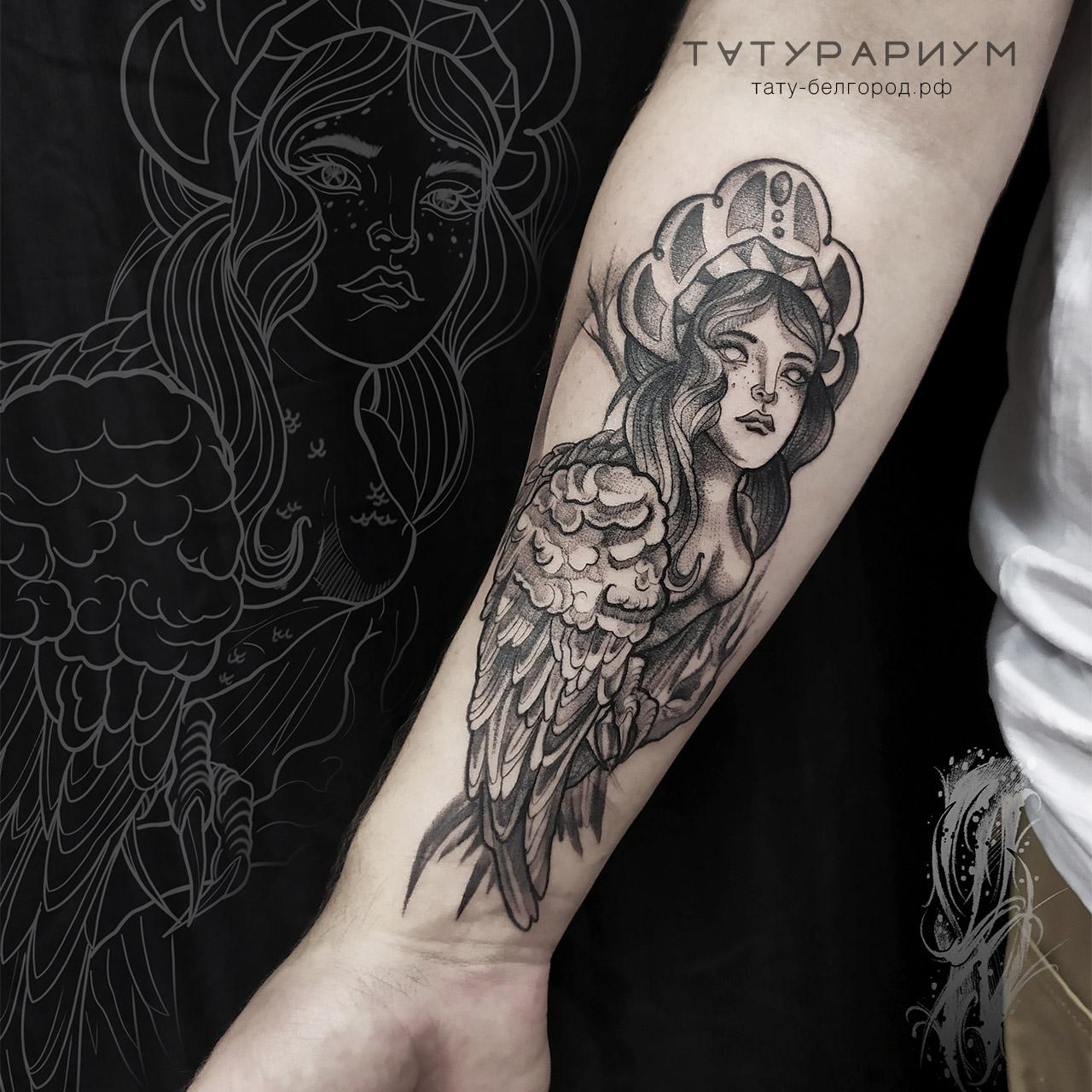Фото татуировки, птица гамаюн, татуировк