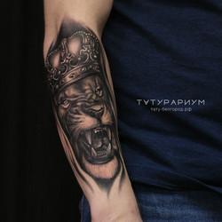 татуировка льва, в стиле реализм, на пре