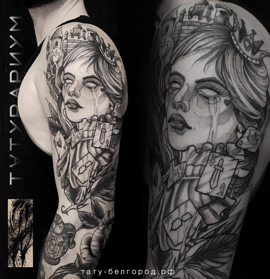 Фото татуировки, рукв в стиле алиса в ст