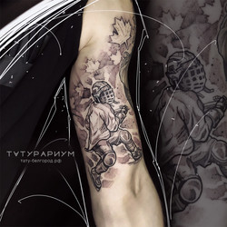 татуировка хоккеиста, в стиле графика, н