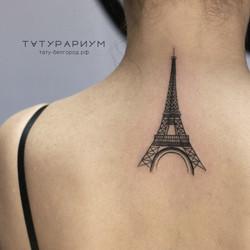 Фото татуировки, эйфелева башня, с зади