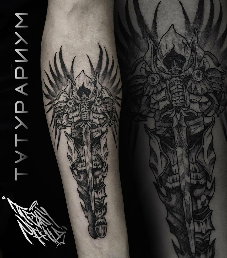 Фото татуировки, ангел на предплечии у м