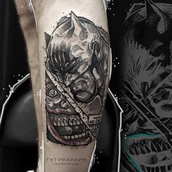Фото татуировки, комиксный стиль бэтмен