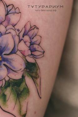 татуировка цветов, в стиле графика, аква