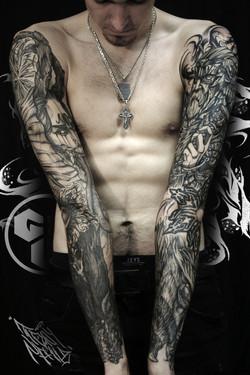 Фото татуировки, мужские рукава в стиле