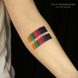 Фото татуировки, no signal, на предплечий у парня цветная настроечная таблица, тату-салон ТАТУРАРИУМ