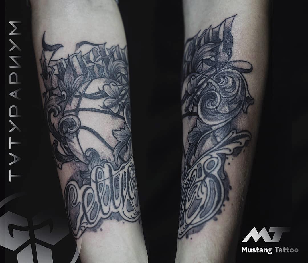 Фото татуировки, баскетбольный мяч на пр
