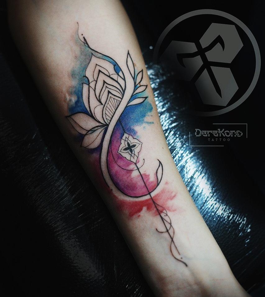 Фото татуировки, солос акварель на предп