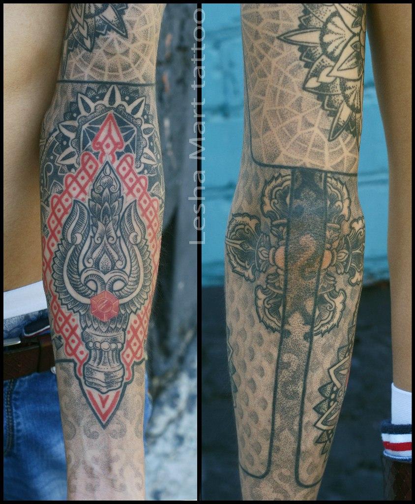 Фото татуировки, трезубец шивы на предпл
