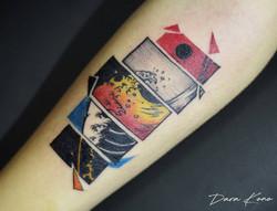 Фото татуировки, японская волна на руке