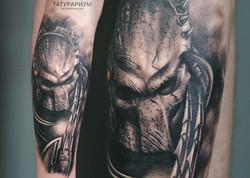 фото татуровки хищника на голени у парня в стиле реализм, тату-салон татурариум, тату-белг