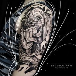 татуировка слона, в стиле графика, на пл