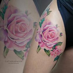 Фото татуировки, перекрытие шрамов розам