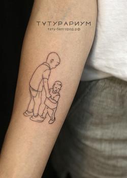Фото татуировки, силуэт дитей контур, та