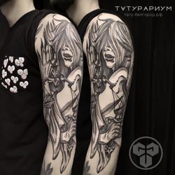 Фото татуировки, богиня провосудия на пл