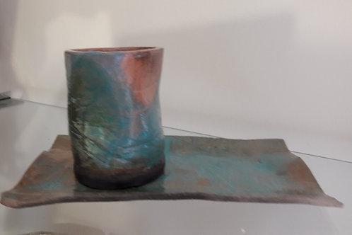 tasse + sous tasse céramique verte