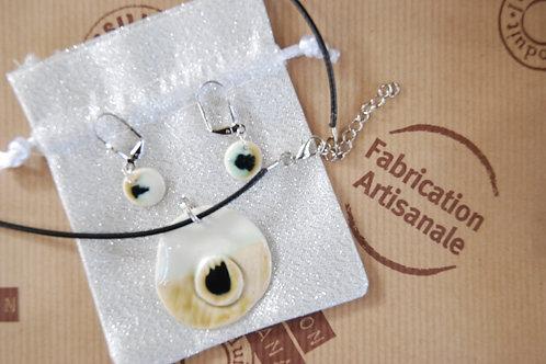 Parure en porcelaine   émaillé collier / boucles d'oreilles