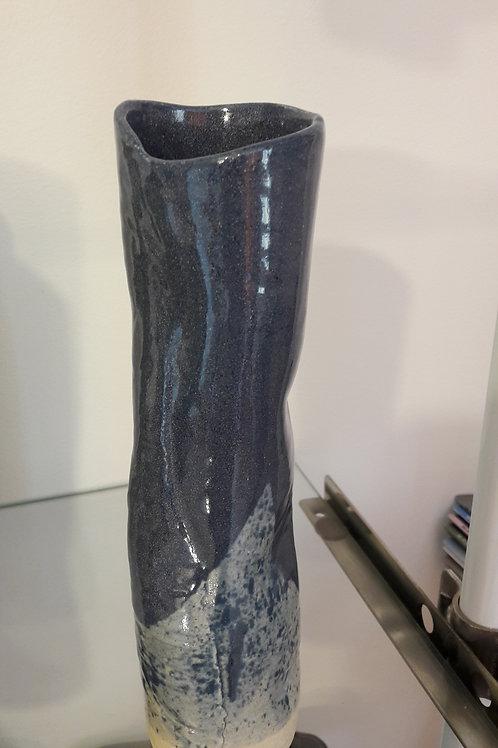 Vase céramique bleu rond