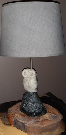 Lampe chouette raku blanche céramique noire