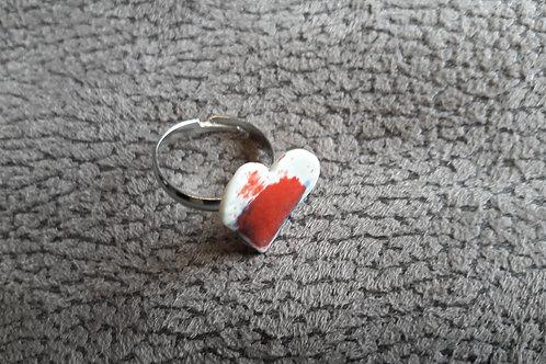 Bague cœur en porcelaine émaillé