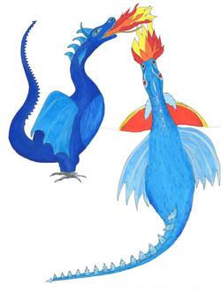 Two True Blue Dragons illustration