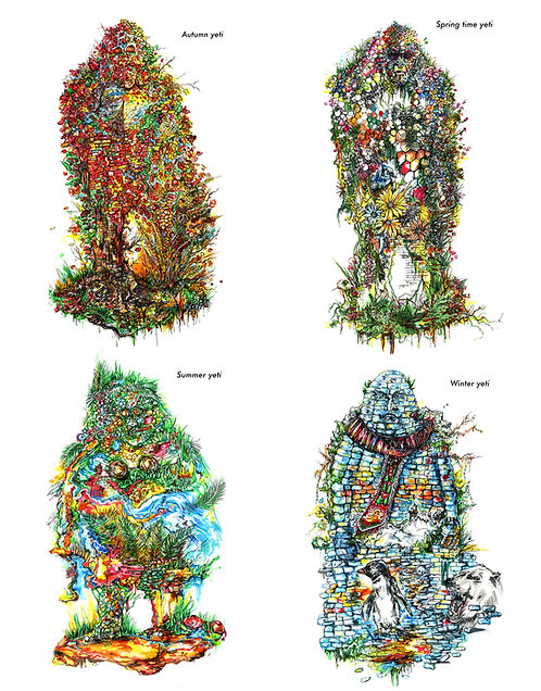"""Seasonal Yeti "" - 13 x 19 inch ( individual prints)"