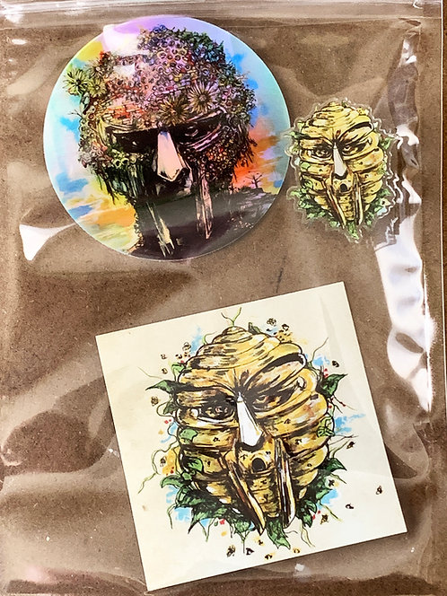 """DOOM"" Honey Pin, Holographic sticker & Magnet Pack"