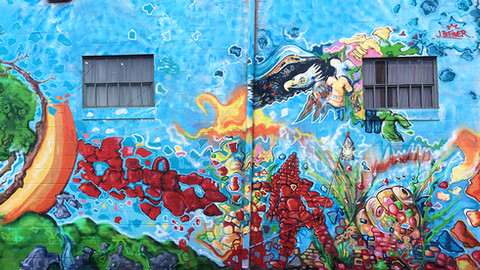 """""""The Collectors"""" a very large wall I painted in Milton P.A. for the Milton Art Bank.. Check out the video below"""
