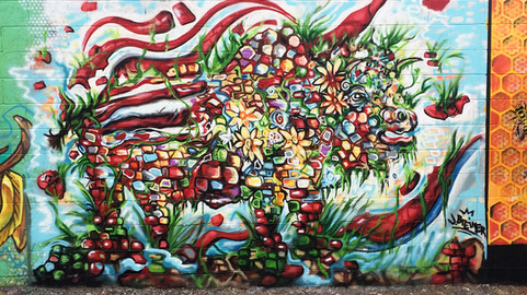 """Heres my mural """"Buffalo Stance""""- WellingCourt Mural Festival in Astoria, Queens  2016"""