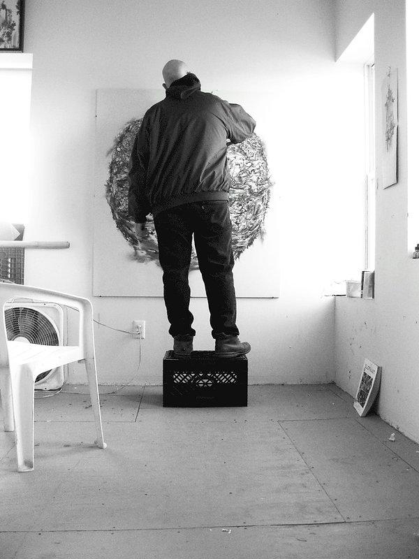 John Breiner working in his Art Studio
