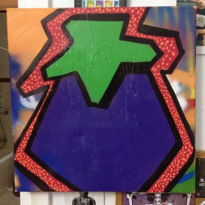 Eggplant on canvas by Eggplant Kid, 25x20cm