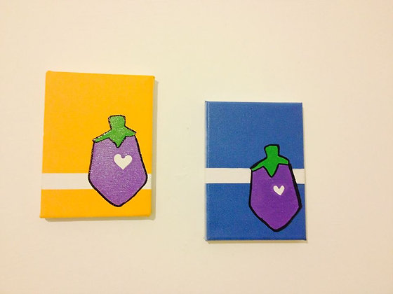 2 Eggplants on canvases by Eggplant Kid. 13x18cm