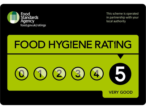 We have been awarded 5 STAR food hygiene for the last 5 years