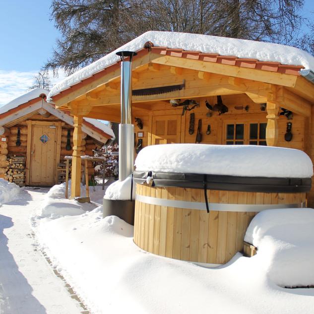 Saunabereich im Winter