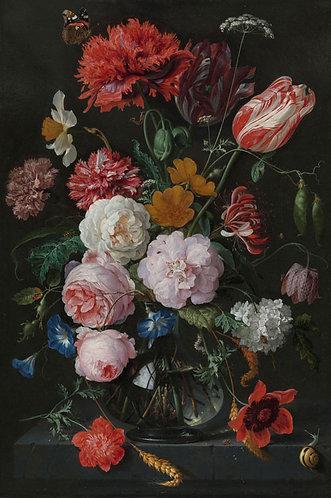 Bloemen in glazen vaas, Jan Davidsz de Heem