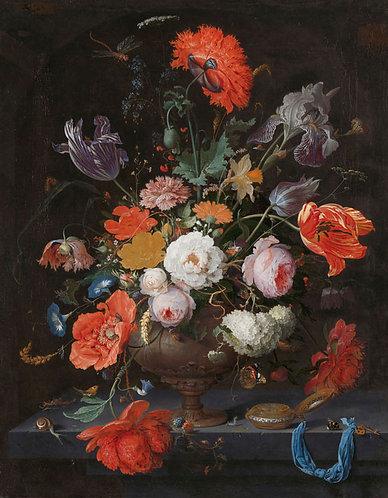 Bloemen en een horloge, Abraham Mignon