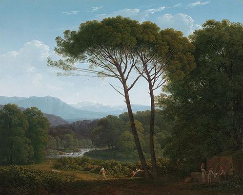 Italiaans landschap met pijnbomen, Hendik Voogd